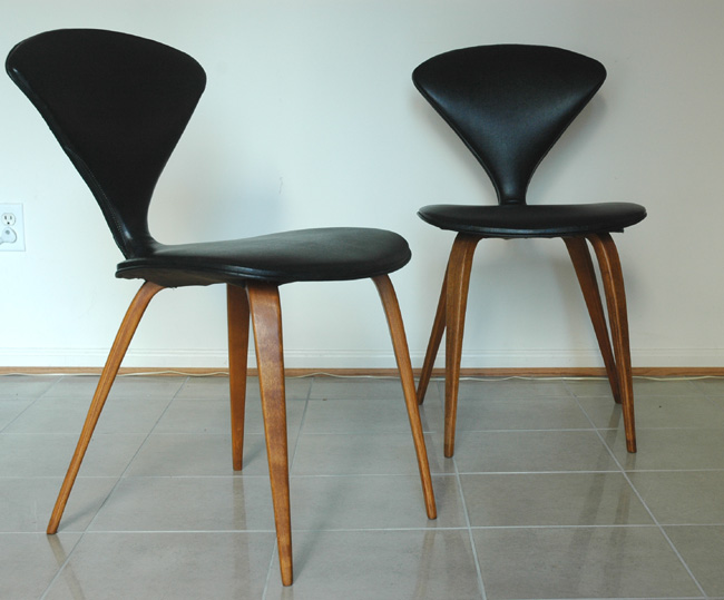early fully upholstered norman cherner side chairs