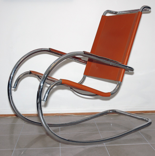 italian chrome and leather rocking chair