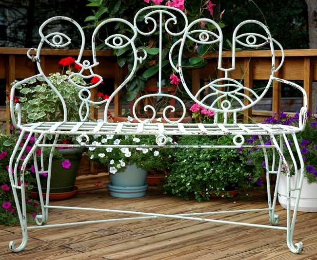 John Risley Style Wrought Iron Patio Bench