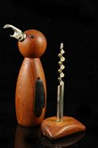 Teak bird bottle opener / corkscrew